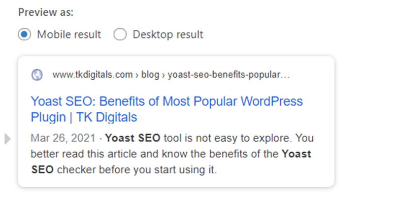 Google preview snippet in Yoast Plugin