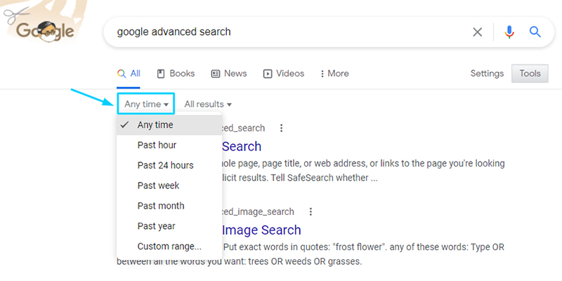 limiting the time period in google search